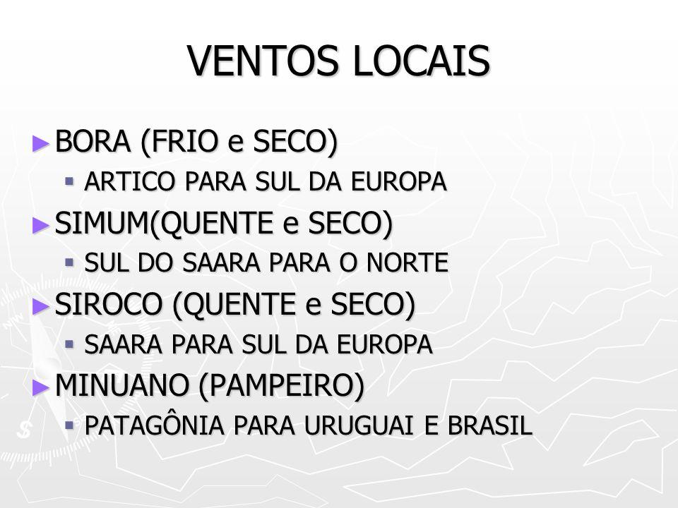 VENTOS LOCAIS BORA (FRIO e SECO) SIMUM(QUENTE e SECO)