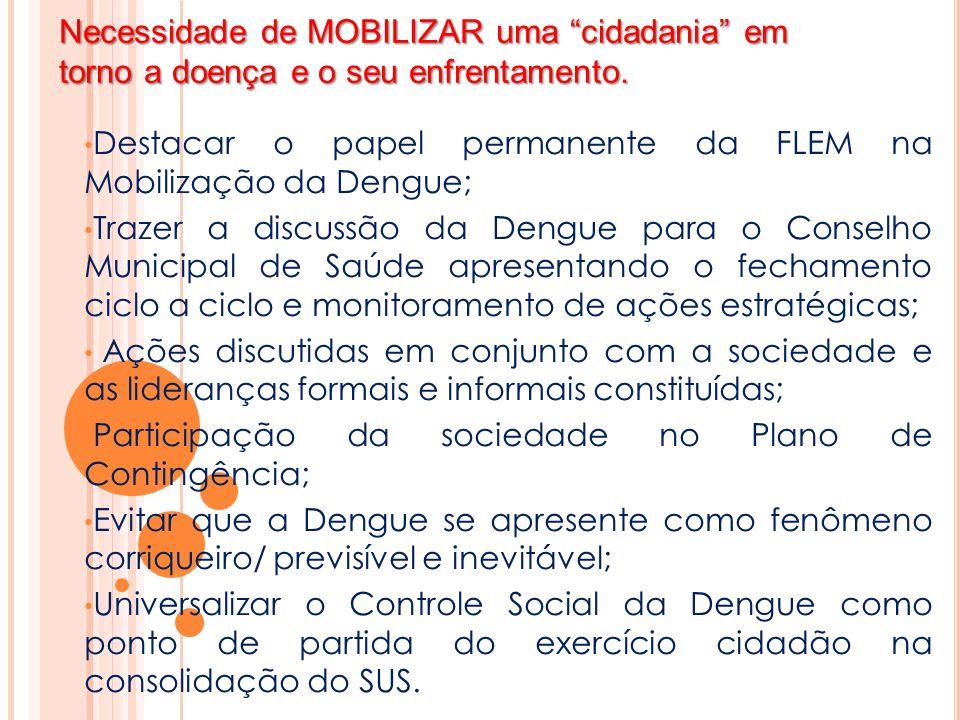 Necessidade de MOBILIZAR uma cidadania em torno a doença e o seu enfrentamento.
