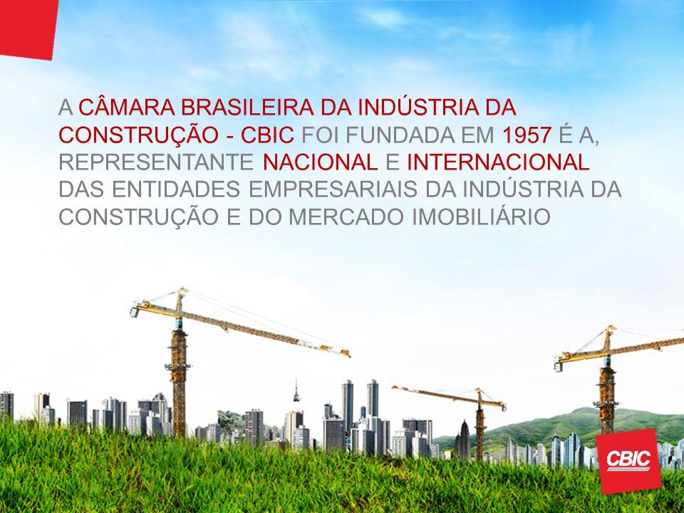 A CÂMARA BRASILEIRA DA INDÚSTRIA DA CONSTRUÇÃO - CBIC FOI FUNDADA EM 1957 É A, REPRESENTANTE NACIONAL E INTERNACIONAL DAS ENTIDADES EMPRESARIAIS DA INDÚSTRIA DA CONSTRUÇÃO E DO MERCADO IMOBILIÁRIO