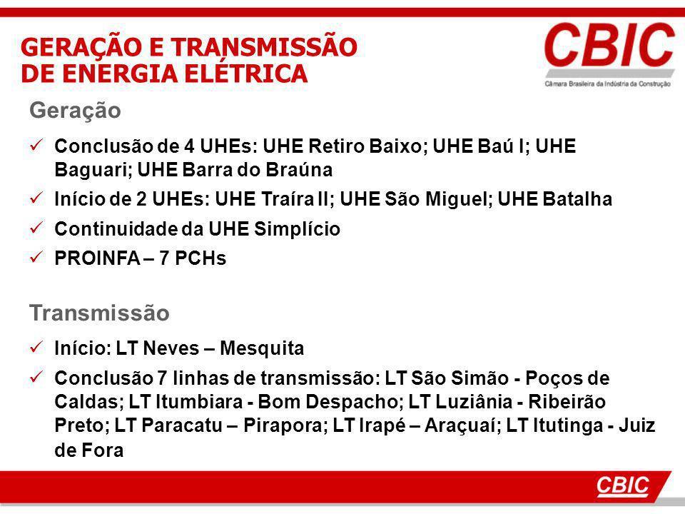 GERAÇÃO E TRANSMISSÃO DE ENERGIA ELÉTRICA Geração Transmissão
