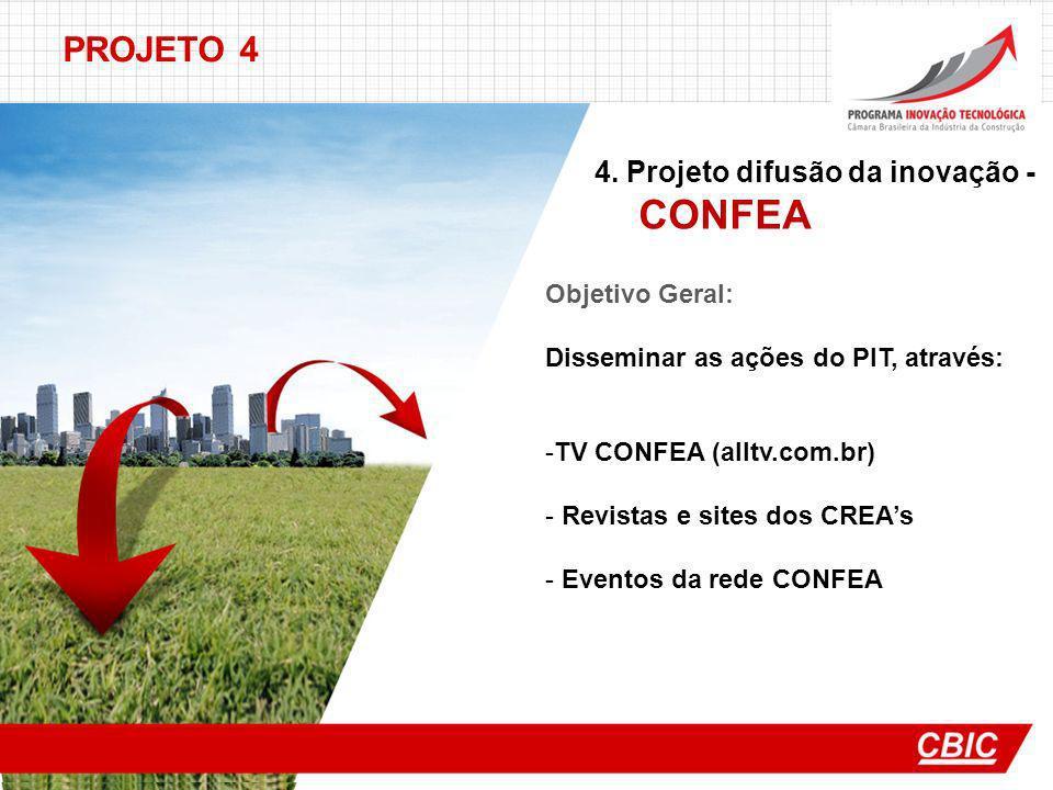 PROJETO 4 4. Projeto difusão da inovação - CONFEA Objetivo Geral: