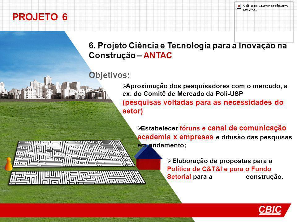 PROJETO 6 6. Projeto Ciência e Tecnologia para a Inovação na Construção – ANTAC. Objetivos:
