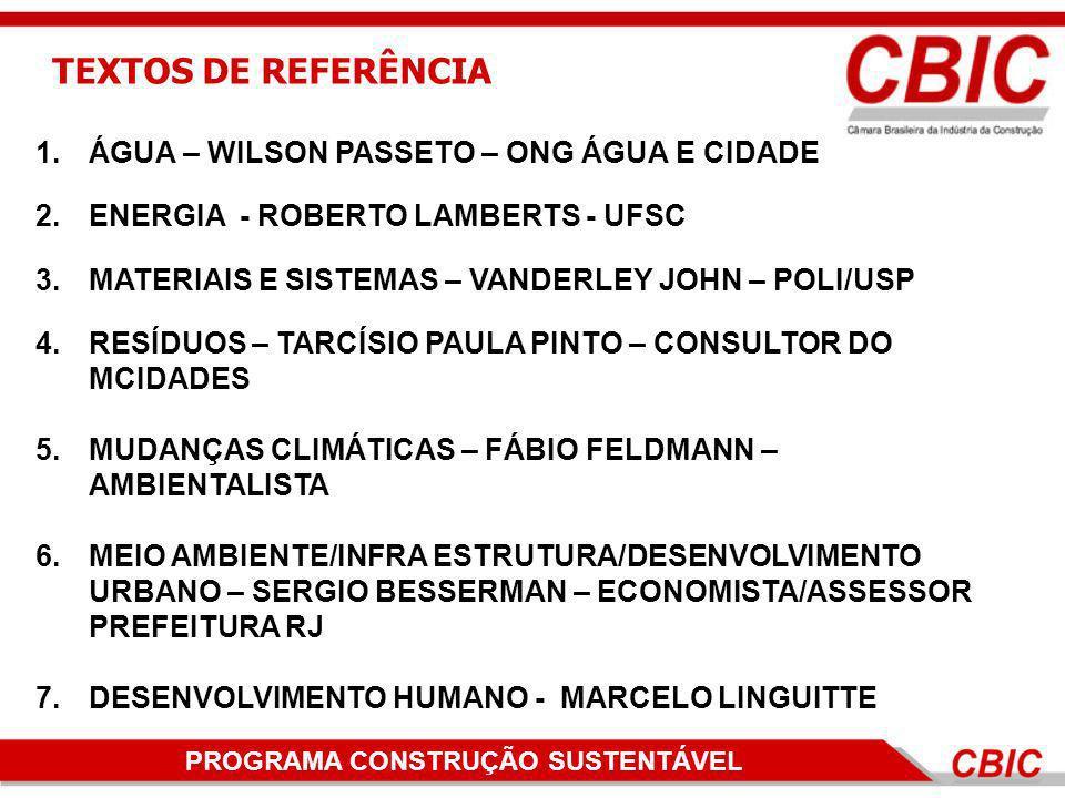 TEXTOS DE REFERÊNCIA ÁGUA – WILSON PASSETO – ONG ÁGUA E CIDADE