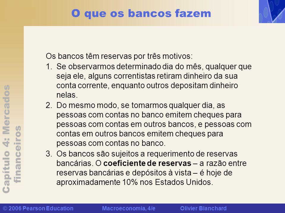 O que os bancos fazem Os bancos têm reservas por três motivos: