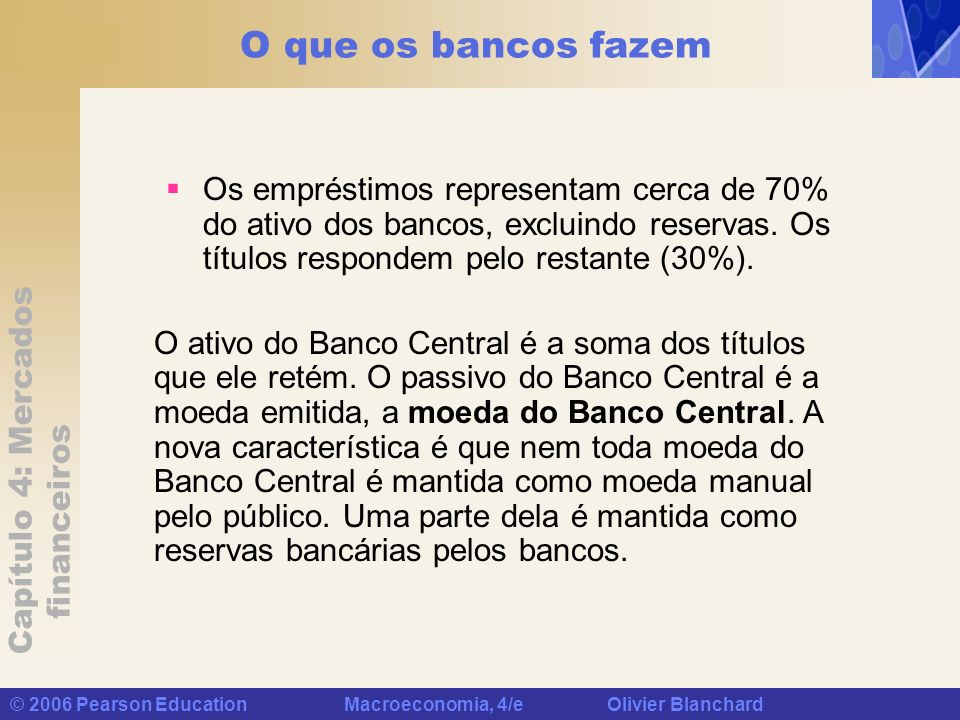 O que os bancos fazem Os empréstimos representam cerca de 70% do ativo dos bancos, excluindo reservas. Os títulos respondem pelo restante (30%).