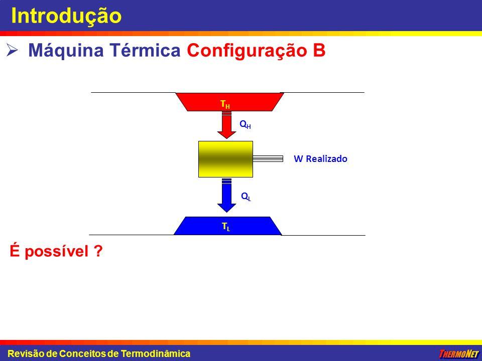 Introdução Máquina Térmica Configuração B É possível TH QH