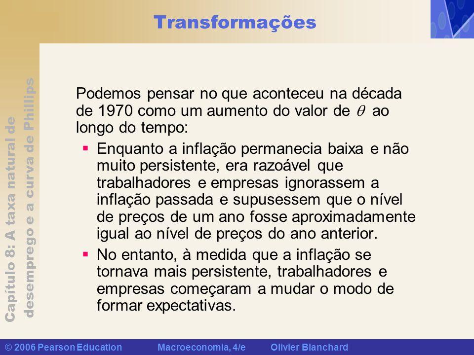 Transformações Podemos pensar no que aconteceu na década de 1970 como um aumento do valor de  ao longo do tempo: