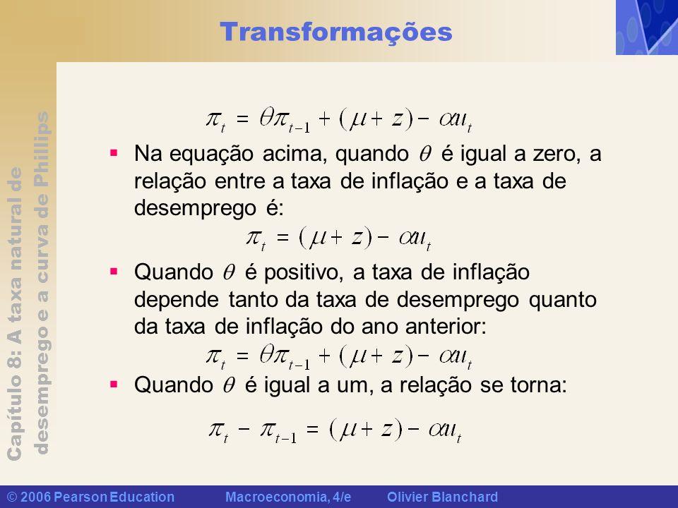 Transformações Na equação acima, quando  é igual a zero, a relação entre a taxa de inflação e a taxa de desemprego é: