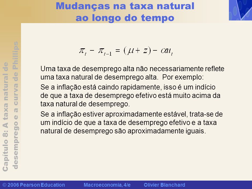 Mudanças na taxa natural ao longo do tempo