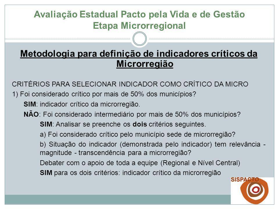 Avaliação Estadual Pacto pela Vida e de Gestão Etapa Microrregional