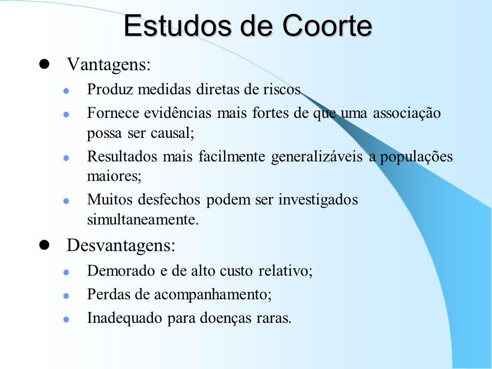 Estudos de Coorte Vantagens: Desvantagens: