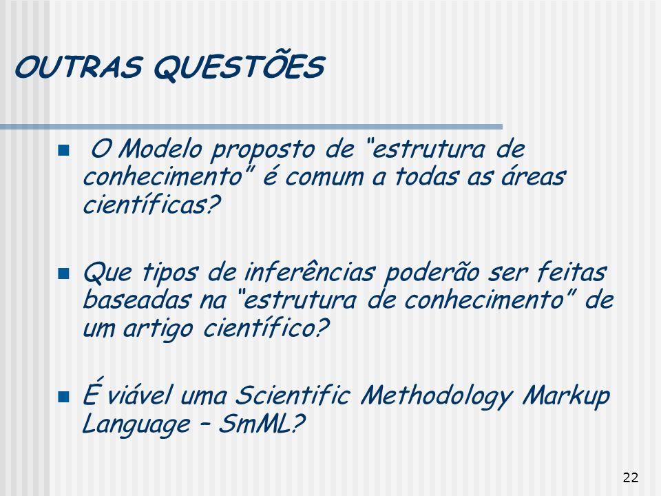 OUTRAS QUESTÕES O Modelo proposto de estrutura de conhecimento é comum a todas as áreas científicas