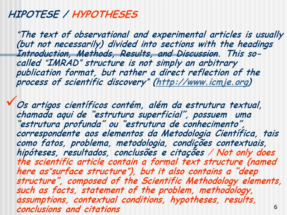 HIPOTESE / HYPOTHESES