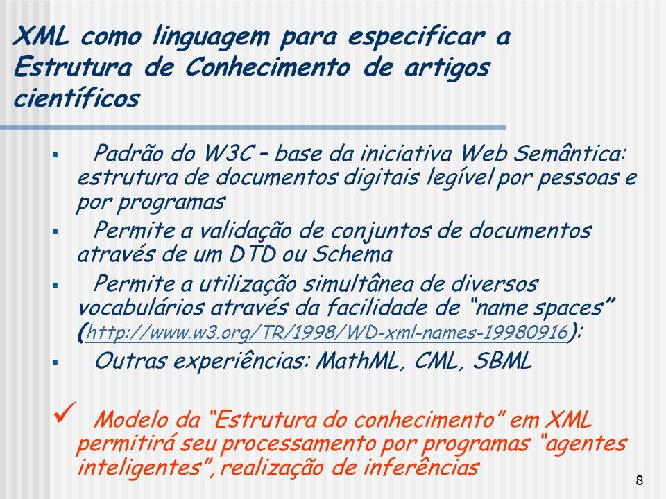 XML como linguagem para especificar a Estrutura de Conhecimento de artigos científicos