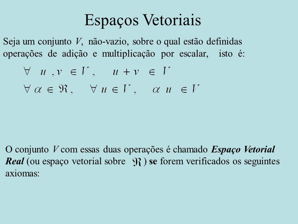 Espaços Vetoriais Seja um conjunto V, não-vazio, sobre o qual estão definidas operações de adição e multiplicação por escalar, isto é: