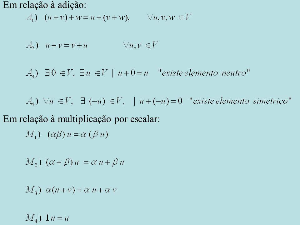 Em relação à multiplicação por escalar: