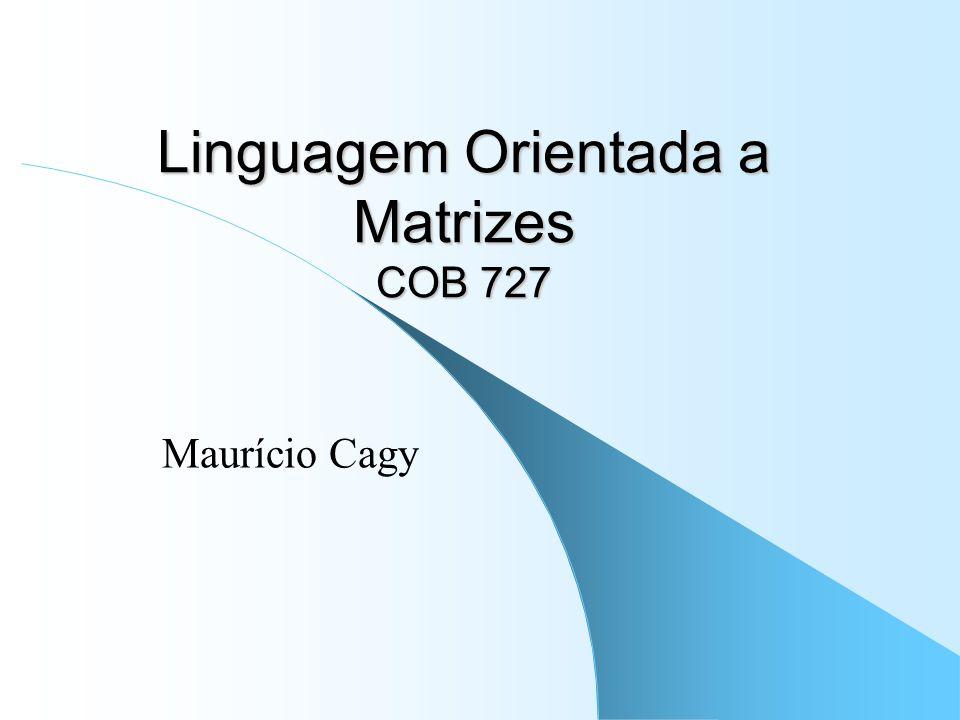 Linguagem Orientada a Matrizes COB 727