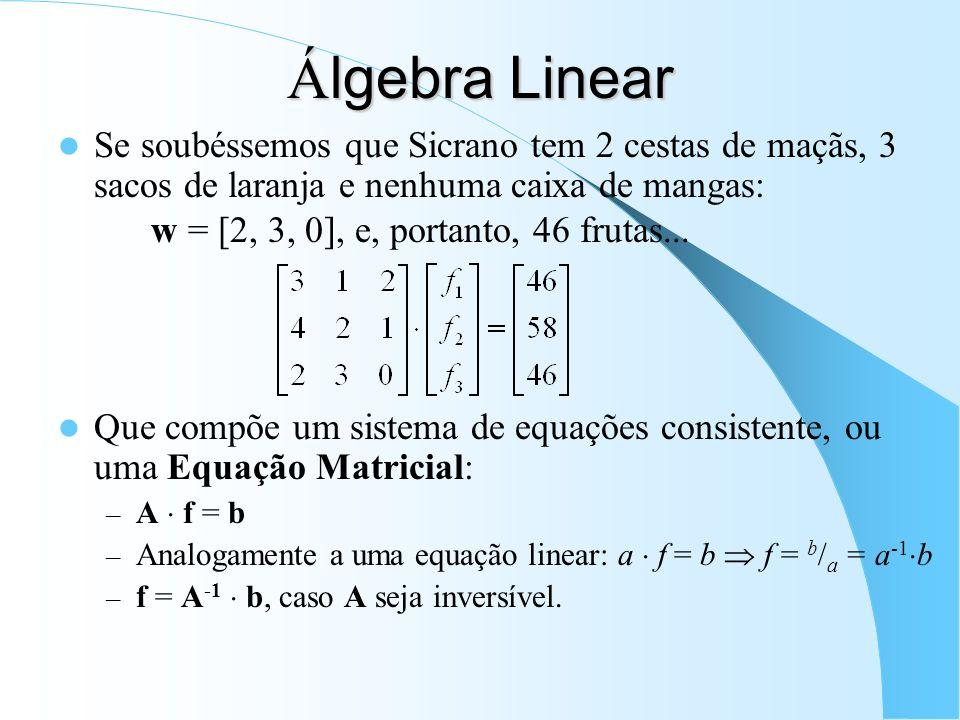 Álgebra Linear Se soubéssemos que Sicrano tem 2 cestas de maçãs, 3 sacos de laranja e nenhuma caixa de mangas: