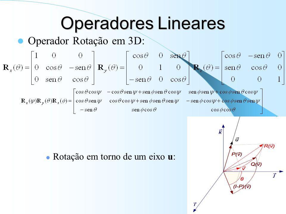 Operadores Lineares Operador Rotação em 3D: