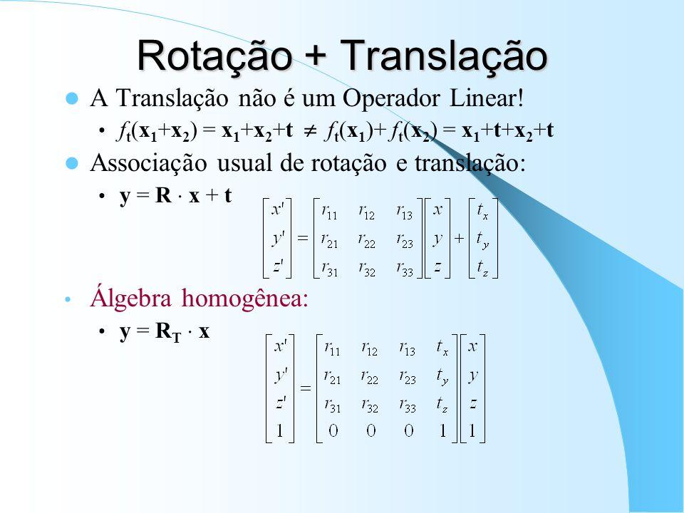 Rotação + Translação A Translação não é um Operador Linear!