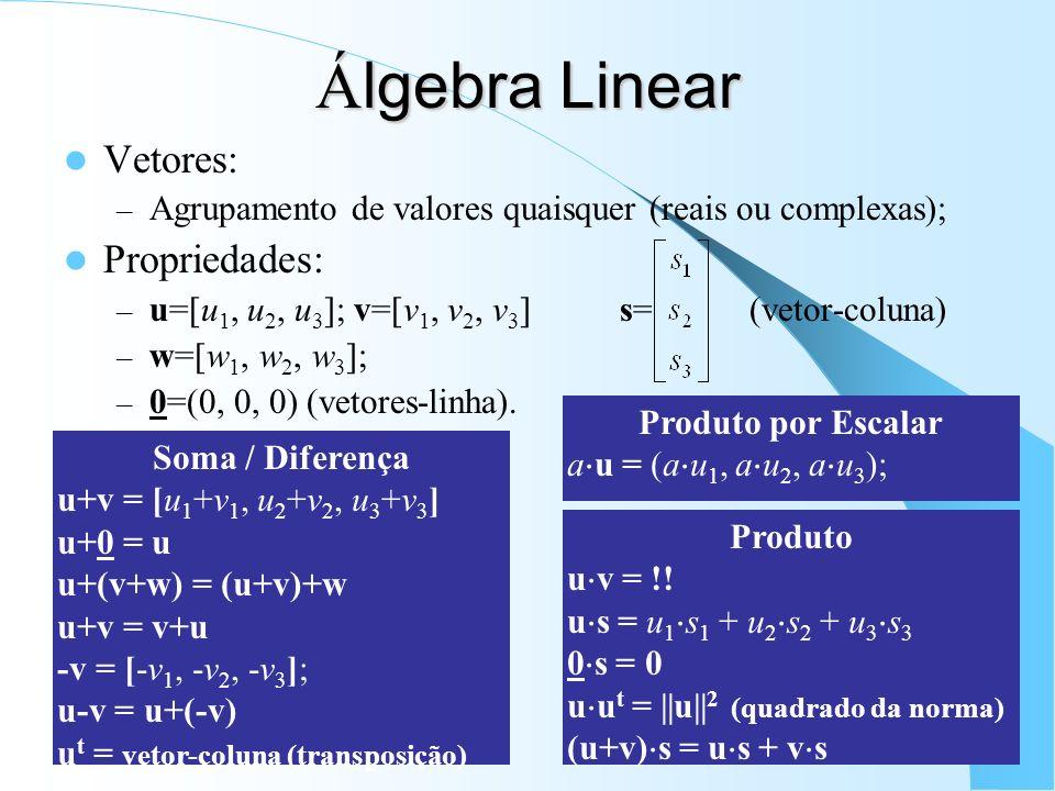 Álgebra Linear Vetores: Propriedades: