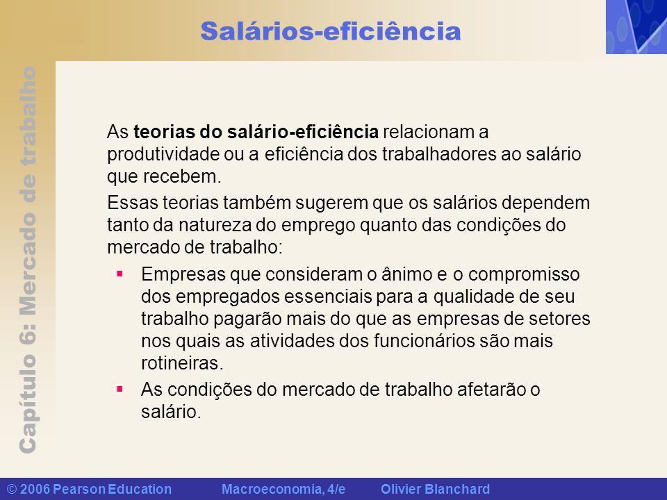 Salários-eficiência As teorias do salário-eficiência relacionam a produtividade ou a eficiência dos trabalhadores ao salário que recebem.