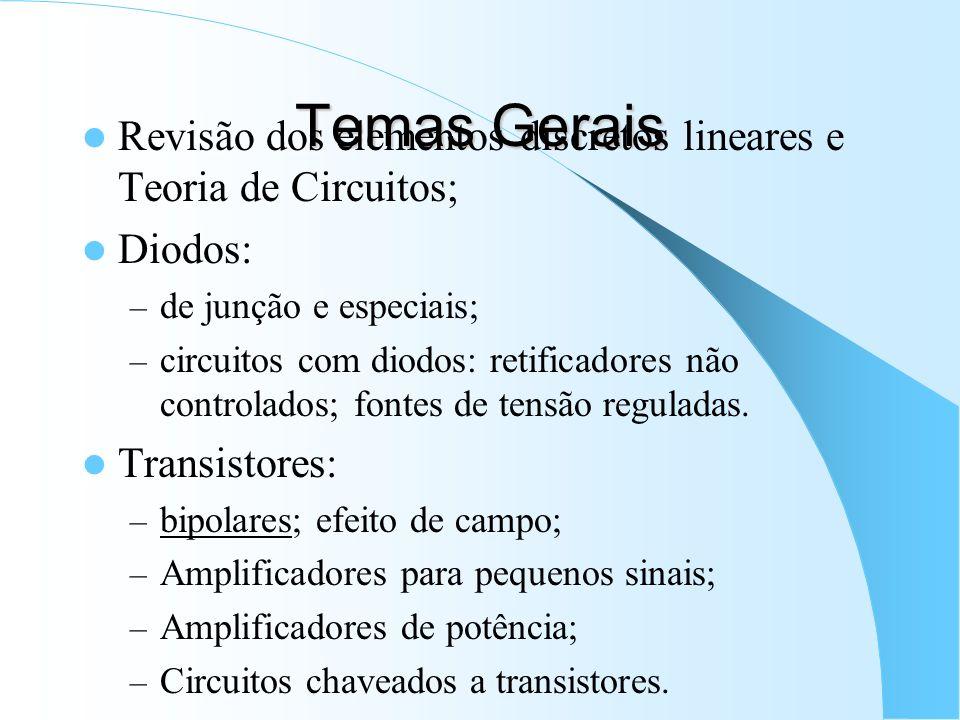 Temas GeraisRevisão dos elementos discretos lineares e Teoria de Circuitos; Diodos: de junção e especiais;
