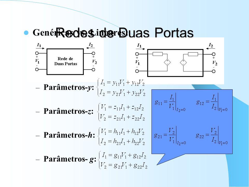 Redes de Duas Portas Genéricas vs. Lineares: Parâmetros-y: