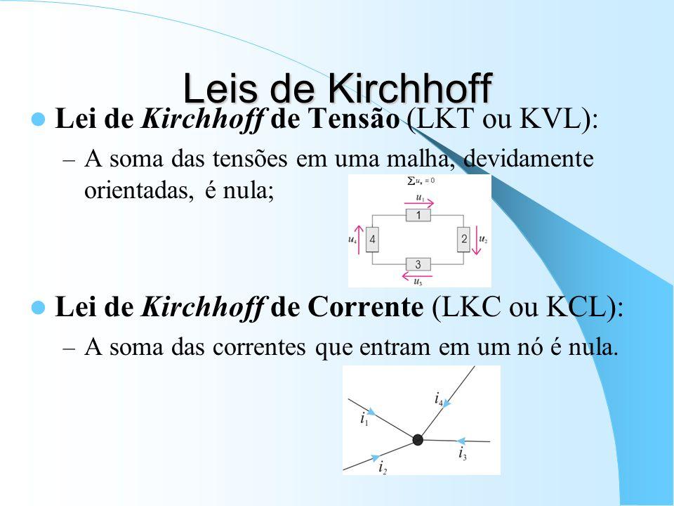 Leis de Kirchhoff Lei de Kirchhoff de Tensão (LKT ou KVL):