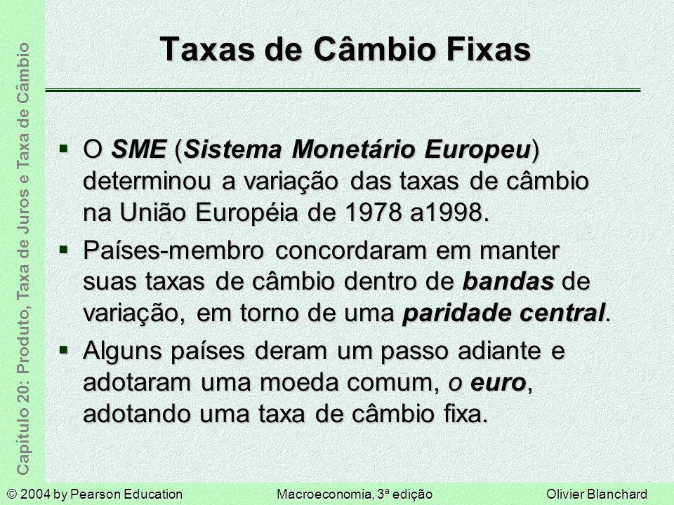 Taxas de Câmbio Fixas O SME (Sistema Monetário Europeu) determinou a variação das taxas de câmbio na União Européia de 1978 a1998.