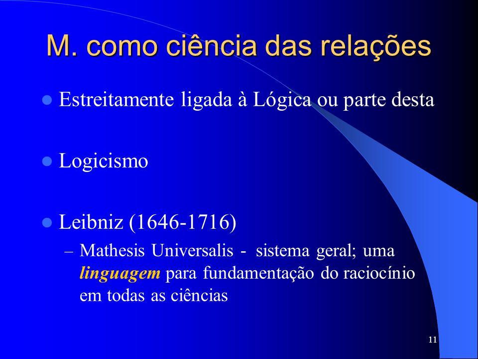 M. como ciência das relações
