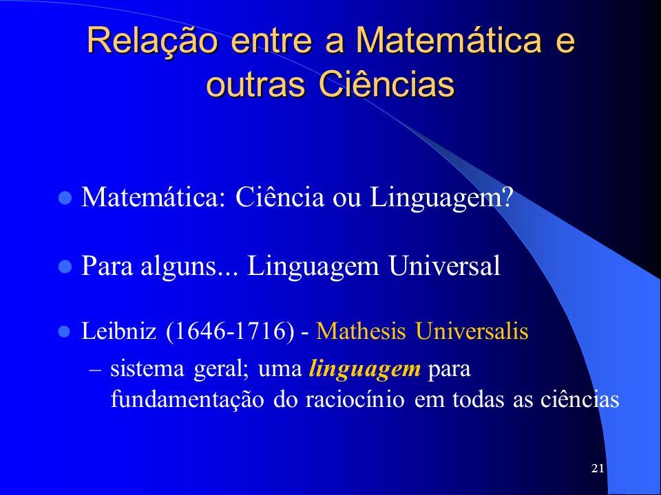 Relação entre a Matemática e outras Ciências
