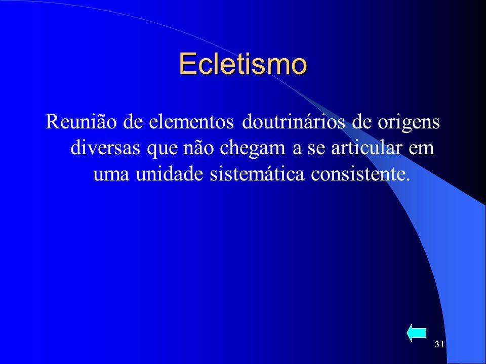 Ecletismo Reunião de elementos doutrinários de origens diversas que não chegam a se articular em uma unidade sistemática consistente.