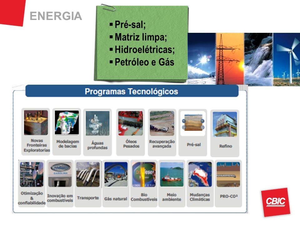 ENERGIA Pré-sal; Matriz limpa; Hidroelétricas; Petróleo e Gás