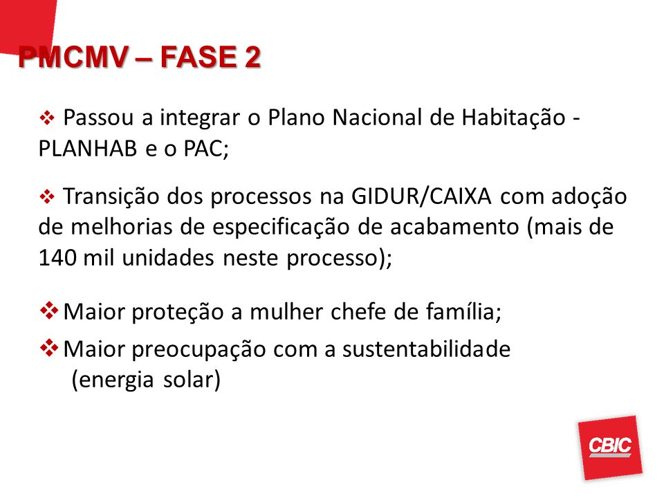 PMCMV – FASE 2 Passou a integrar o Plano Nacional de Habitação - PLANHAB e o PAC;