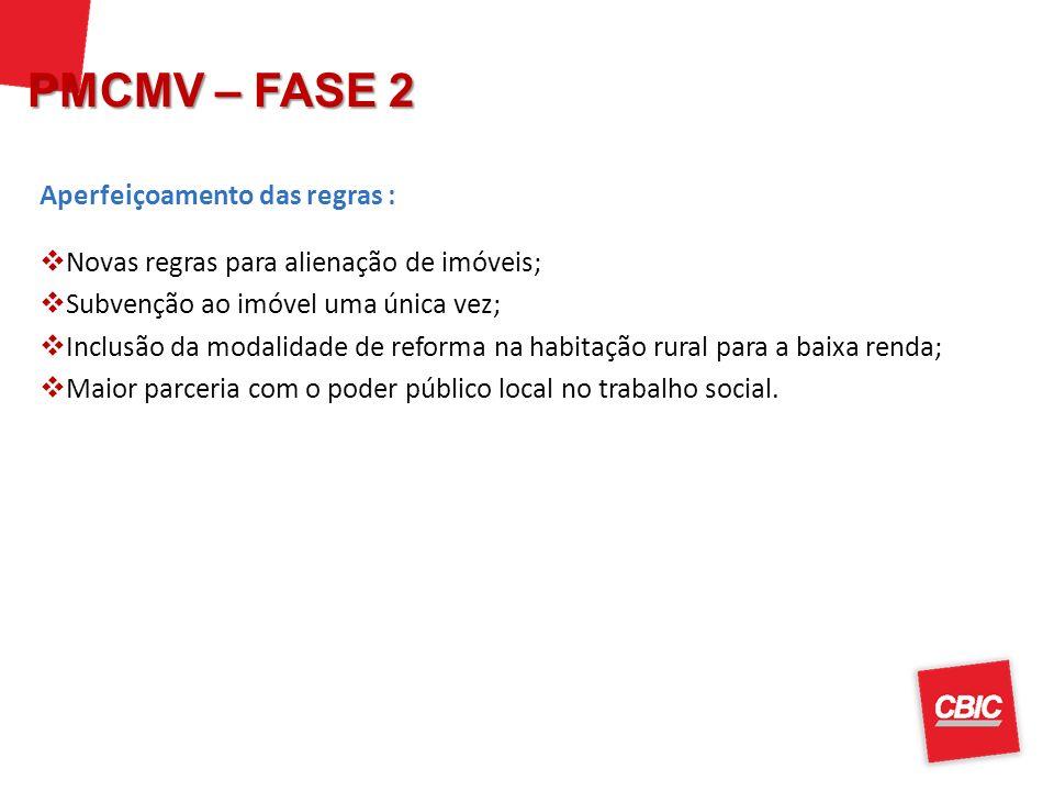 PMCMV – FASE 2 Aperfeiçoamento das regras :