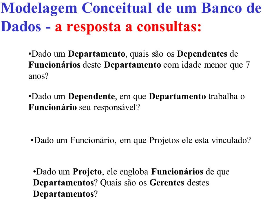 Modelagem Conceitual de um Banco de Dados - a resposta a consultas: