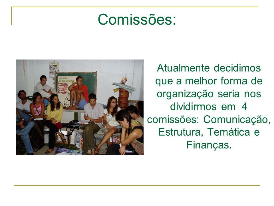 Comissões: Atualmente decidimos que a melhor forma de organização seria nos dividirmos em 4 comissões: Comunicação, Estrutura, Temática e Finanças.