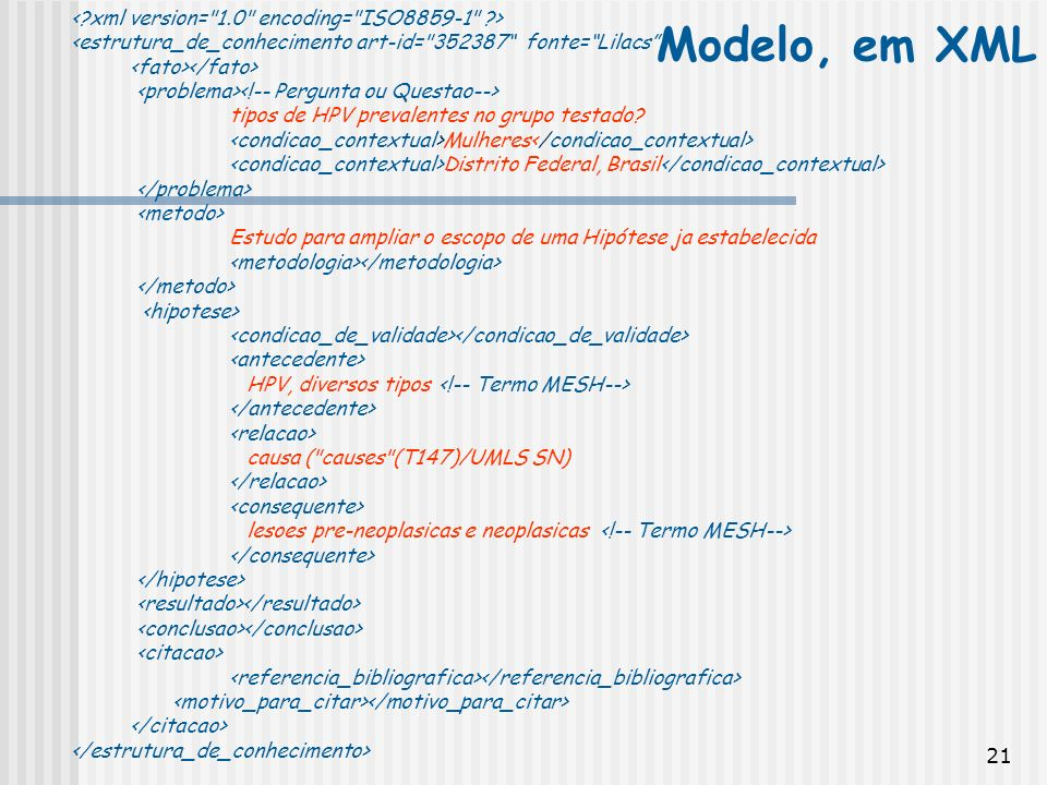 Modelo, em XML < xml version= 1.0 encoding= ISO8859-1 >