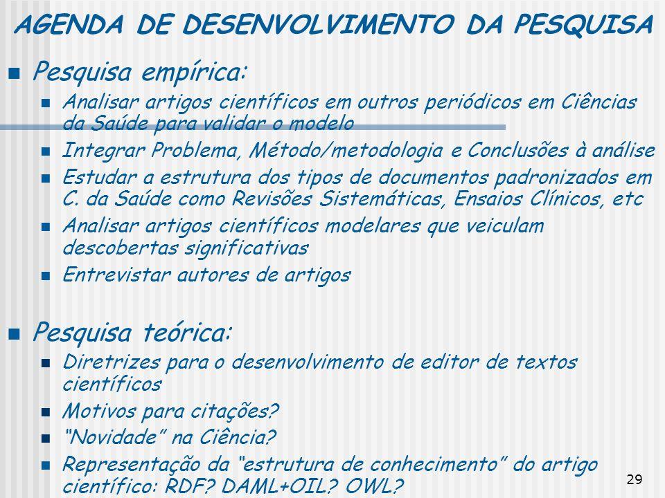 AGENDA DE DESENVOLVIMENTO DA PESQUISA