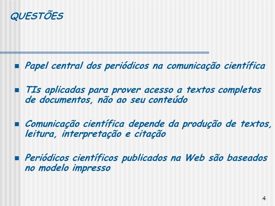 QUESTÕES Papel central dos periódicos na comunicação científica.