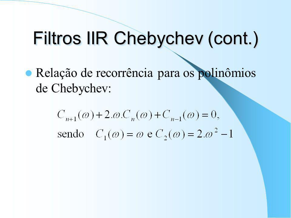 Filtros IIR Chebychev (cont.)