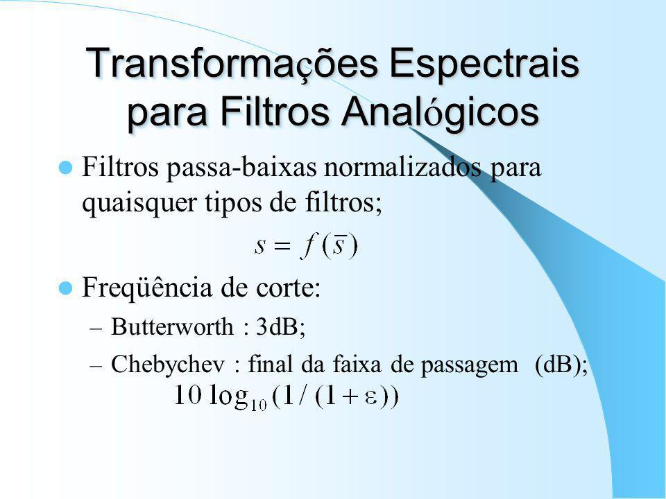 Transformações Espectrais para Filtros Analógicos