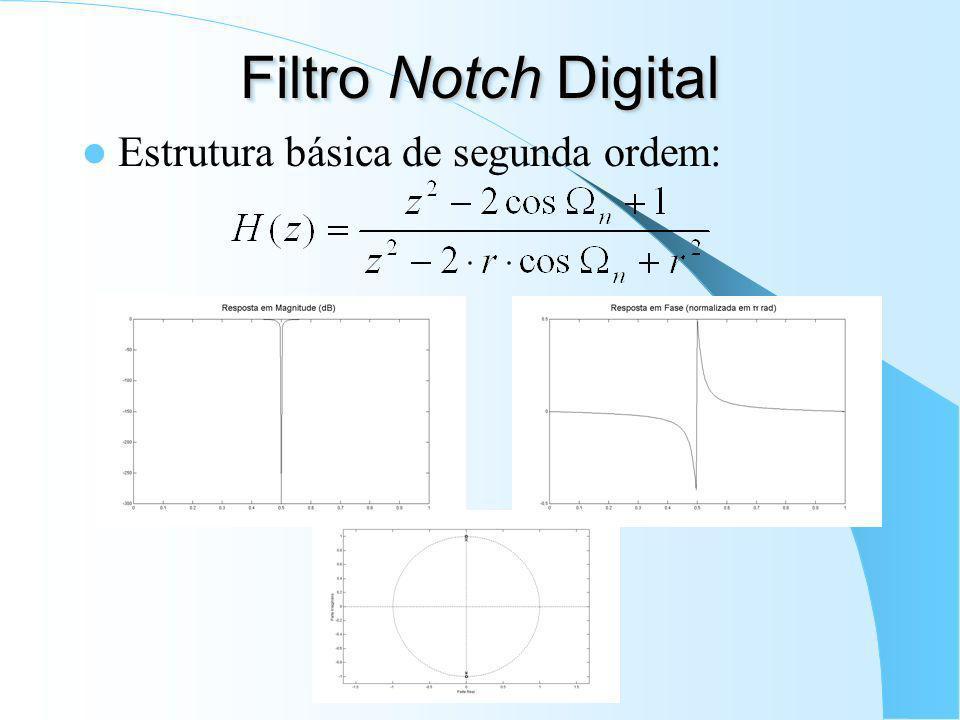 Filtro Notch Digital Estrutura básica de segunda ordem: