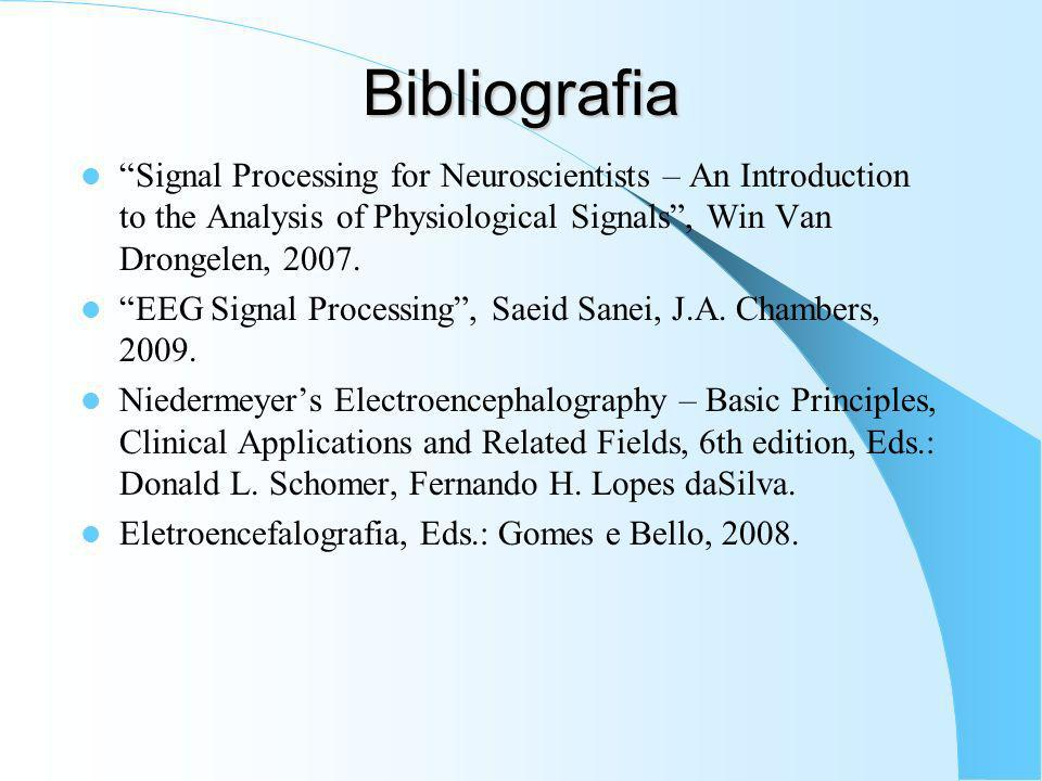 Bibliografia Signal Processing for Neuroscientists – An Introduction to the Analysis of Physiological Signals , Win Van Drongelen, 2007.