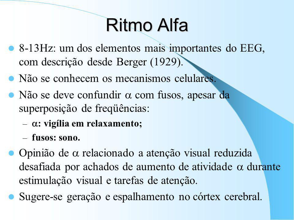 Ritmo Alfa 8-13Hz: um dos elementos mais importantes do EEG, com descrição desde Berger (1929). Não se conhecem os mecanismos celulares.