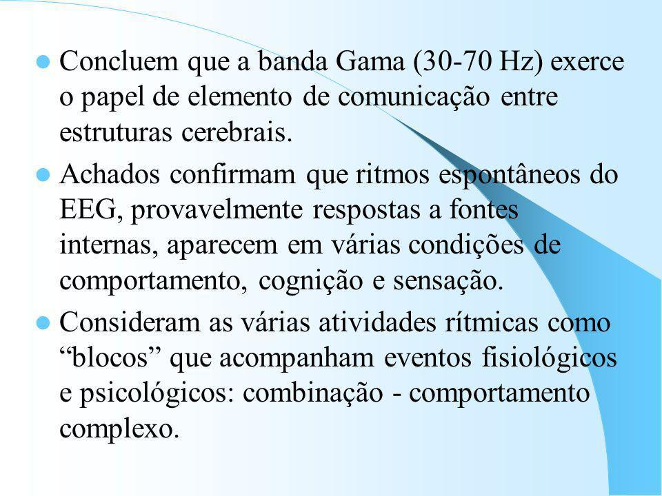 Concluem que a banda Gama (30-70 Hz) exerce o papel de elemento de comunicação entre estruturas cerebrais.