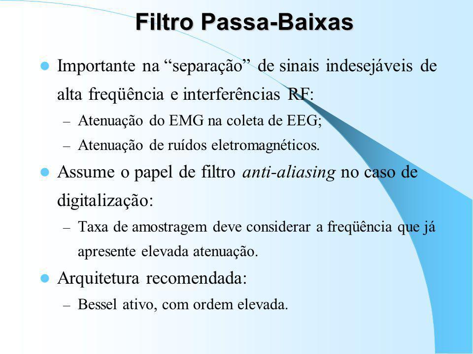 Filtro Passa-Baixas Importante na separação de sinais indesejáveis de alta freqüência e interferências RF: