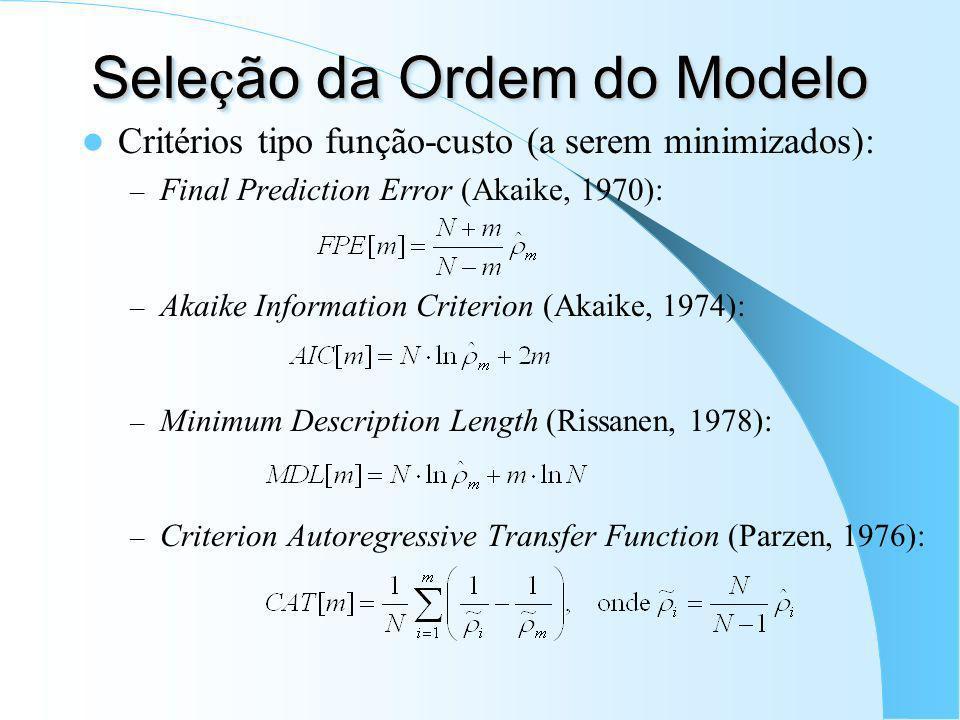 Seleção da Ordem do Modelo
