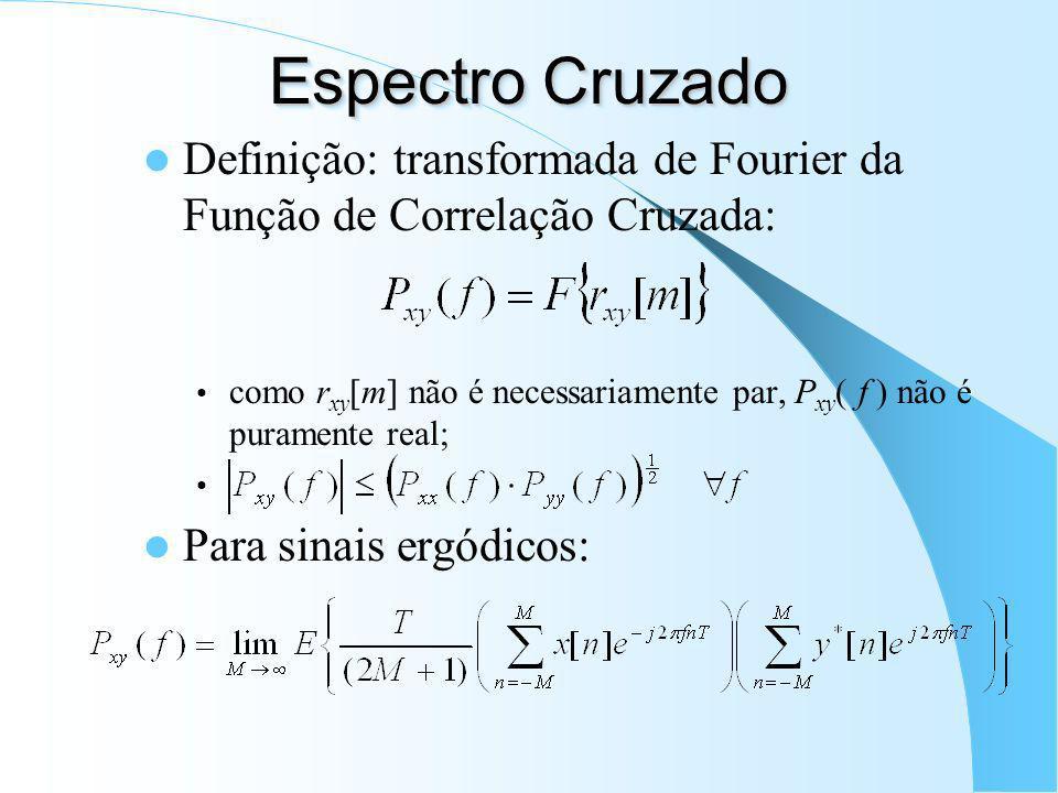Espectro Cruzado Definição: transformada de Fourier da Função de Correlação Cruzada: